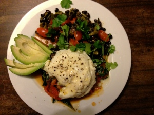 Egg with black bean and roasted poblano chile salad and avocado